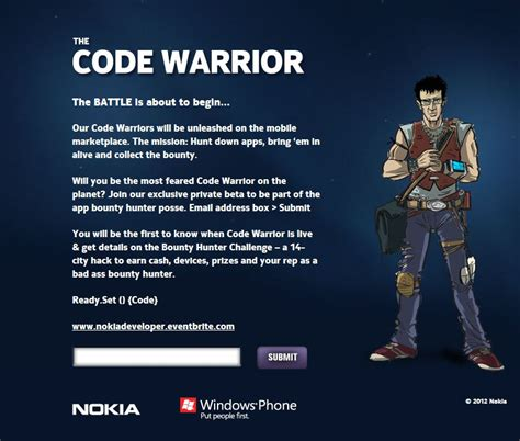 nokia and microsoft bring you the code warrior wp7 connect