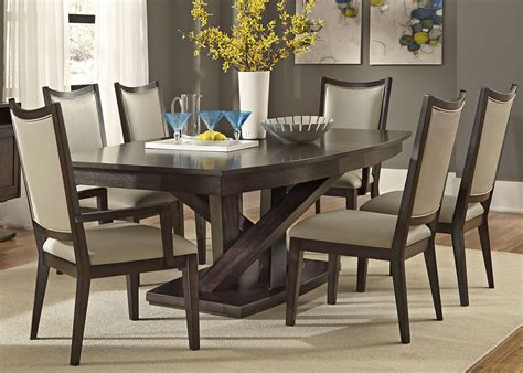7 piece round dining room set steve silver wilson 7 piece 60x42 dining room set in