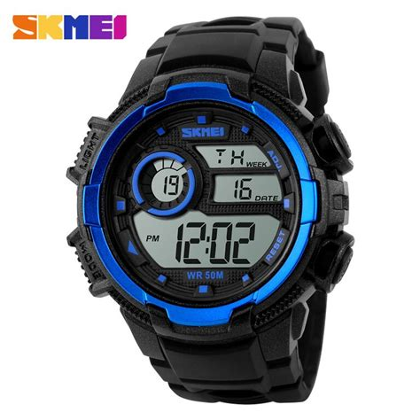 skmei casio sport led water resistant 50m dg1113 black blue jakartanotebook