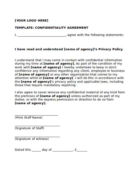 Secrecy Agreement Template by 20 Confidentiality Agreement Templates Free Sle