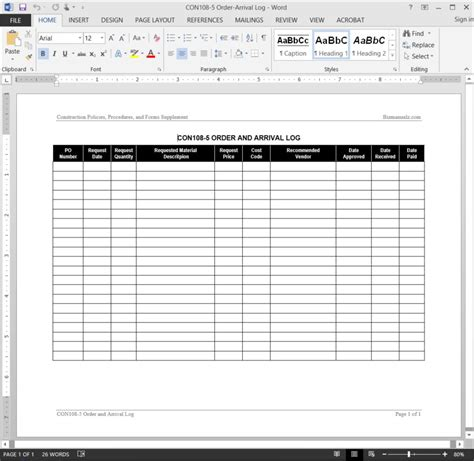 production order form template order arrival log template
