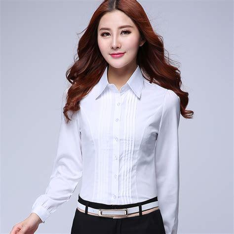 Promo Blouse Kemeja Kerja Wania Zaitun Shirt 2015 summer sleeve slim formal shirt work wear overalls ol plus size white shirt