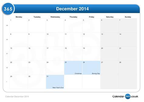 Calendar Of December 2014 Calendar December 2014