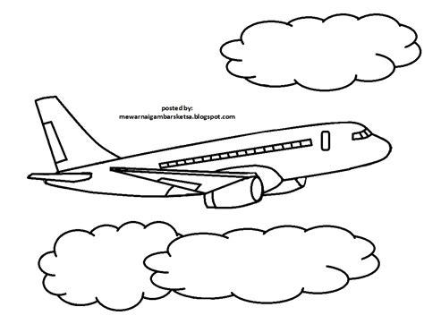 mewarnai gambar contoh mewarnai gambar pesawat terbang