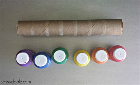 Crafts Made From Paper Towel Rolls - rainbow paper towel wind catcher craft for crafty
