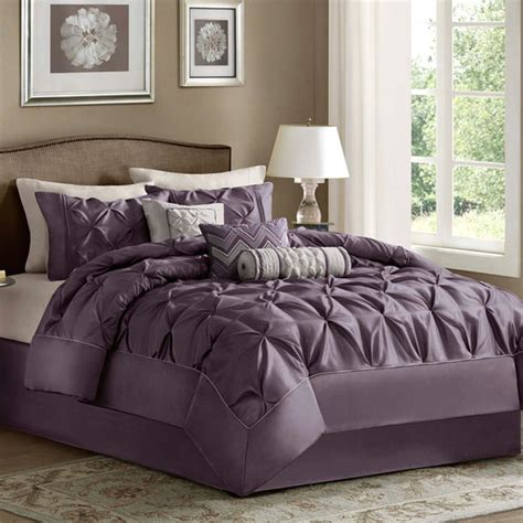 queen size bedding comforter set 7 piece purple luxury