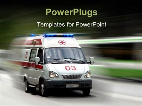 Powerpoint Template A Very Fast Moving Ambulance With Over Head Lights 1590 Ambulance Powerpoint Template