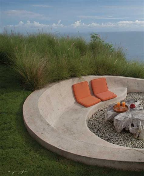 Outdoor C outdoor firepit and concrete bench outdoor seating built
