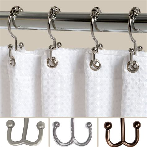double roller shower curtain hook set
