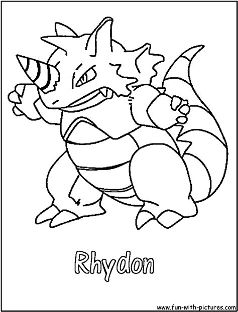 pokemon coloring pages rhyhorn rhydon coloring page