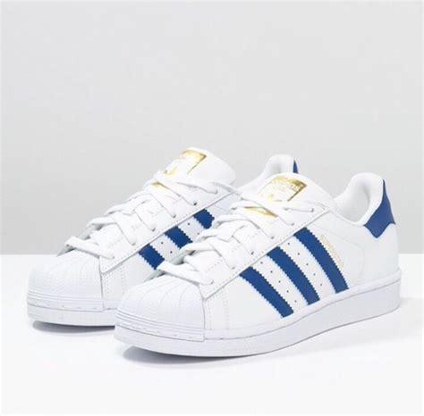 Adidas White Blue shoes adidas superstar blue white adidas superstars