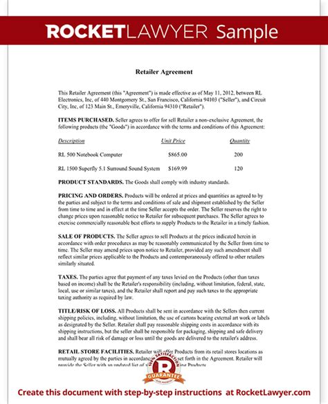 retailer agreement retail purchase agreement template