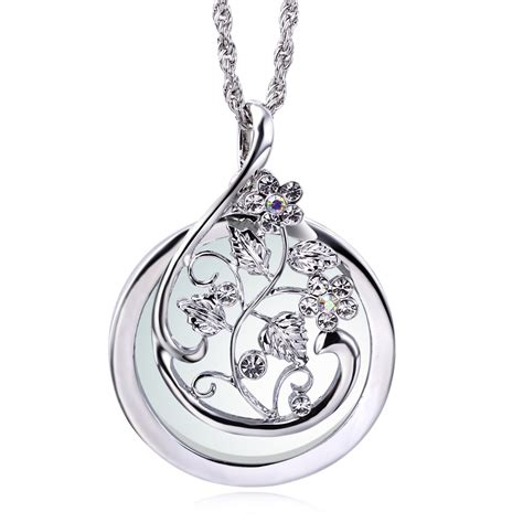 New Arrival Fashion Reading 2x Magnifying Glass Pendant Necklace 2x magnifying reading necklace pendant 18k gold and platinum plated hollow out flower design