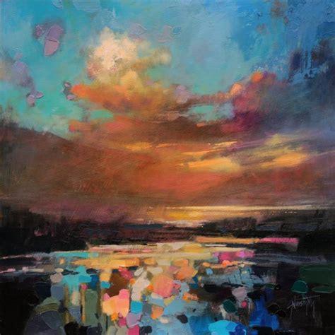acrylic painting sky golden sky 40x40cm sold naismith