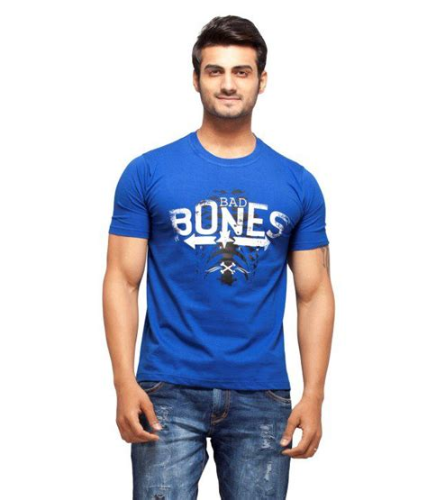 Rs Bone Tshirt nihaal bad bones royal blue neck printed t shirt