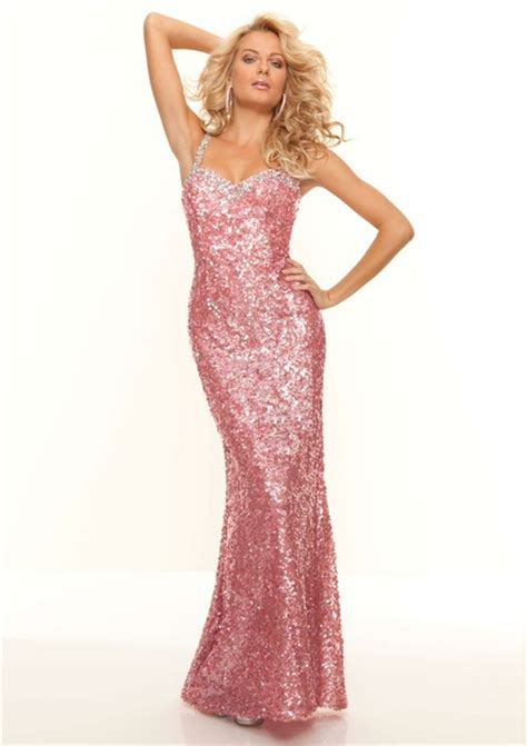 Sequined Prom Dress sweetheart pink sequined backless prom dress