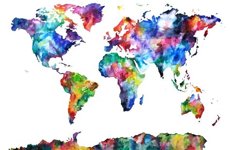 The World In Watercolor by Earth World Map Watercolor Watercolor