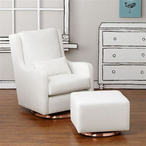 Grey And White Glider And Ottoman Rocking Chairs And Gliders The Land Of Nod