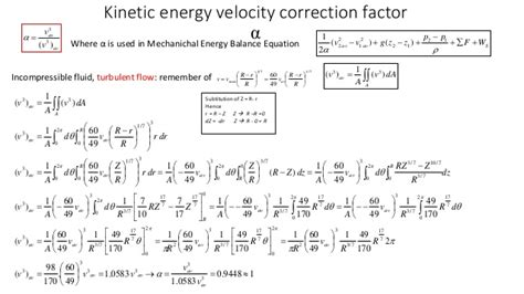 energy pattern factor formula overall energy balance correction factor a for turbulent flow
