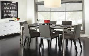 Modern Grey Dining Room Sets Parson Dining Chairs In Gray Microfiber Real Estate