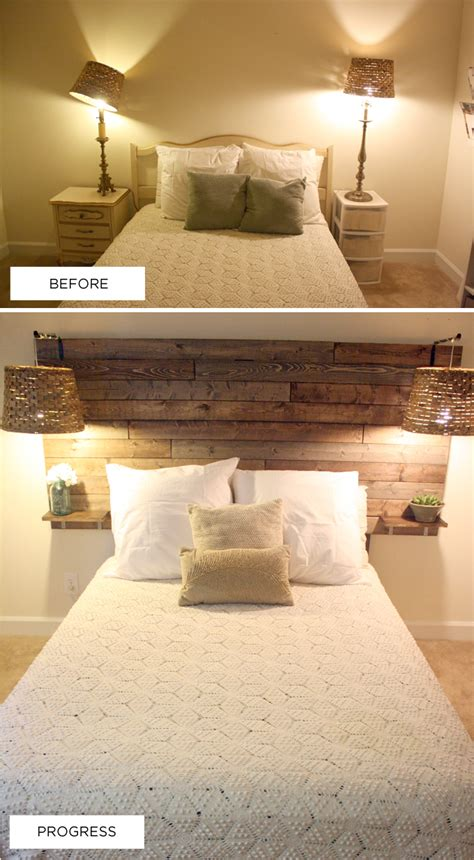 built in headboard pallet headboard love the built in night stands space