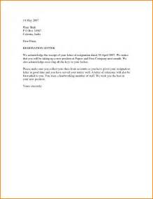 Formal Letter Of Resignation Exle by 7 Formal Letter Of Resignation Template Financial Statement Form