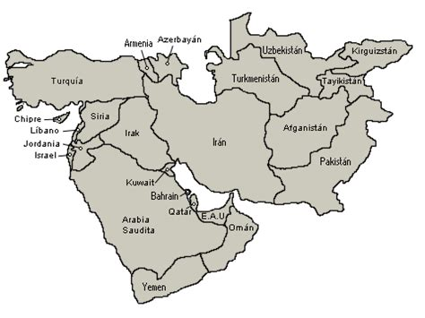 middle east map with labels mapa de medio oriente zona clima