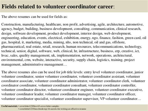 cover letter for volunteer coordinator top 5 volunteer coordinator cover letter sles