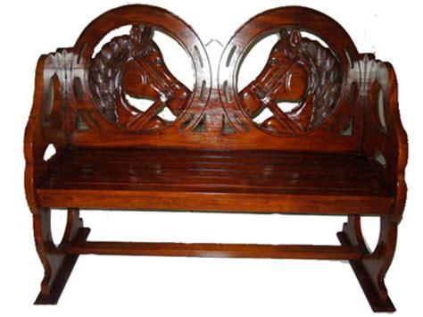 wooden horse bench bamboo teak