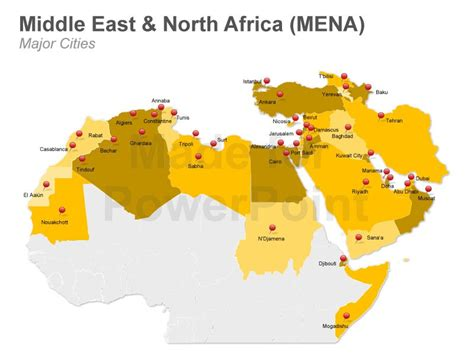 middle east map major cities mena powerpoint map editable ppt slides