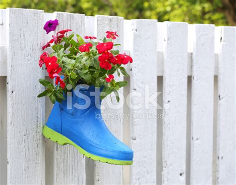 rubber boot decoration funny flower decoration set in old rubber boot stock