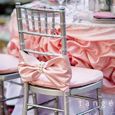 Baby Shower Chair Covers by Pink Bow With Large Pearl Wrap Chiavari Chair Covers For