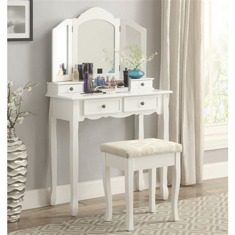 make up vanity hocker roundhill furniture sanlo white wooden vanity