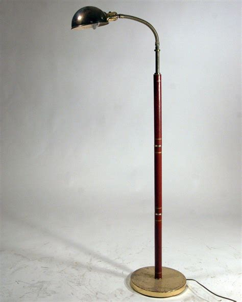 Gooseneck Floor L Mid Century Modern Leather And Brass Gooseneck Floor L In The Manner Of Adnet At 1stdibs