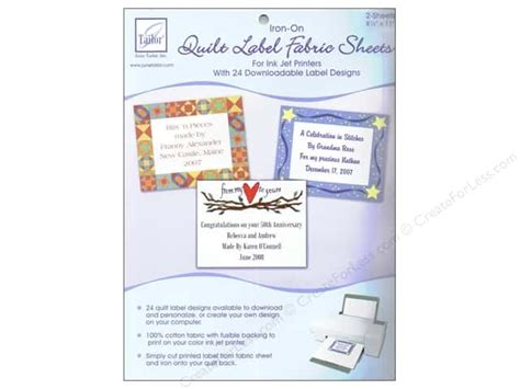 inkjet printable fabric labels june tailor quilt label inkjet fabric sheets 2 pc white