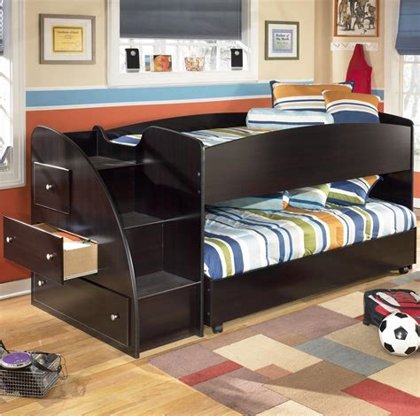 Twin Loft Bed With Caster Bed And Left Storage Steps By Loft Caster Bed
