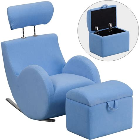 chair with storage ottoman hercules light blue fabric rocking chair with storage