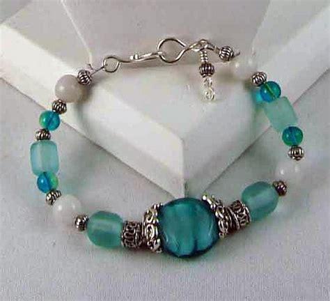 Beautiful aqua glass beads and white quartzite bracelet   designsbysue   Jewelry on ArtFire