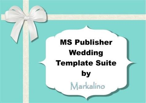 ms publisher wedding invitation template suite in blue markalino software on artfire