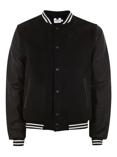 black varsity jacket topman