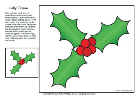 Printable Christmas Holly | printable jigsaw holly