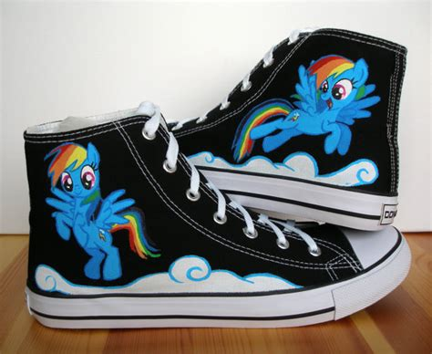 my pony sneakers painted converse shoes my pony rainbow