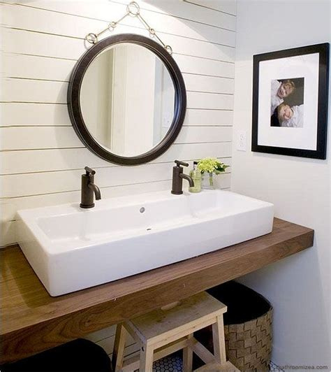 small bathroom vanity double sinks white small room no room for a double sink vanity try a trough style sink