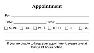 Appointment Business Card Template Appointment Cards Anuvrat Info