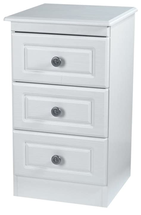 Cheap White Bedside Drawers by Pembroke White Bedside Cabinet 3 Drawer Welcome Furniture