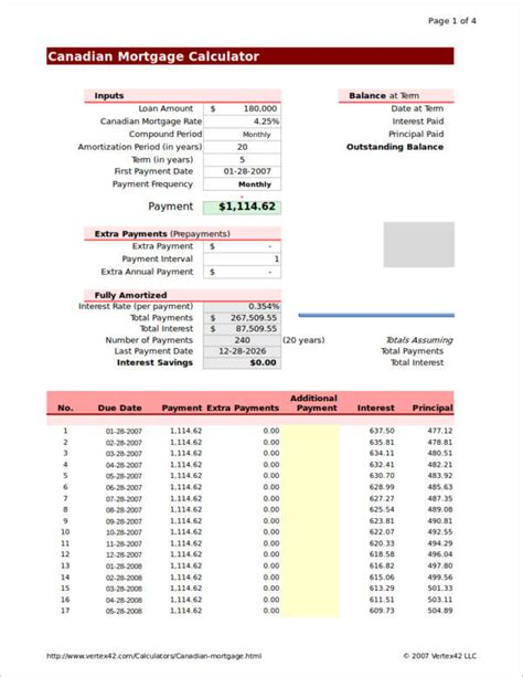 mortgage amortization table mortgage amortization in canada 13 home mortgage calculator sles templates free