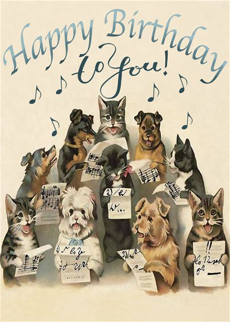 madame treacle dog cat sing birthday card mthb