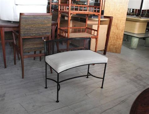 curved wrought iron bench wrought iron curved bench new upholstery for sale at 1stdibs