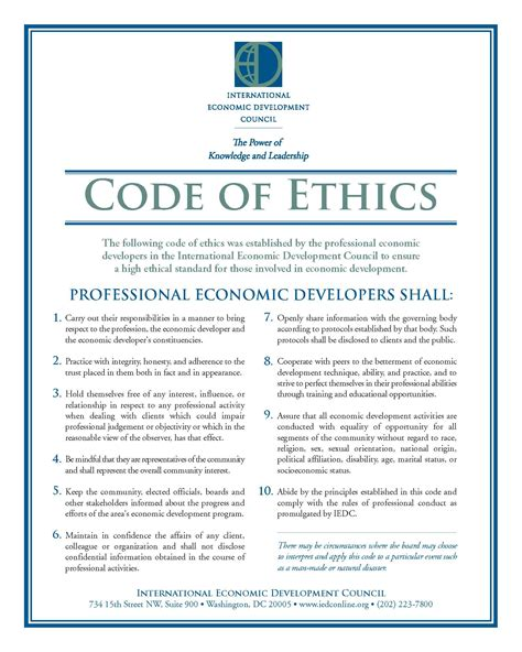 Code Of Conduct Template personal code of ethics template www pixshark