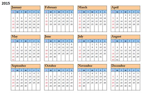 printable calendar horizontal 2015 2015 printable calendar month by month